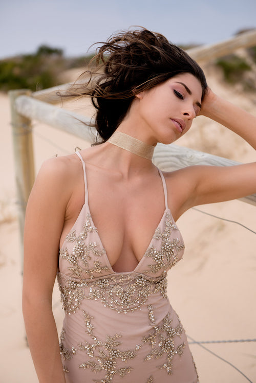 Beaded formal gown by Karen Hurley