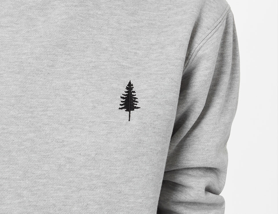 A grey tentree golden spruce crewneck sweatshirt with a small tree logo.
