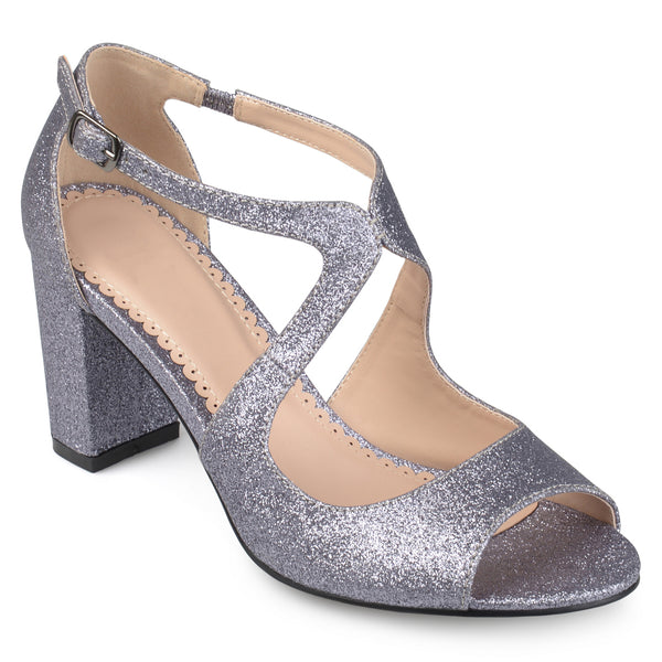 Open Toe Intersecting Straps Glitter Heels