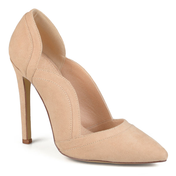 Faux Suede Scalloped Pumps