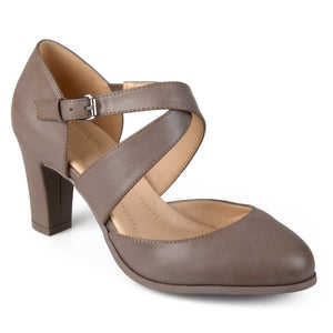 Comfort Sole Cross Strap Pumps