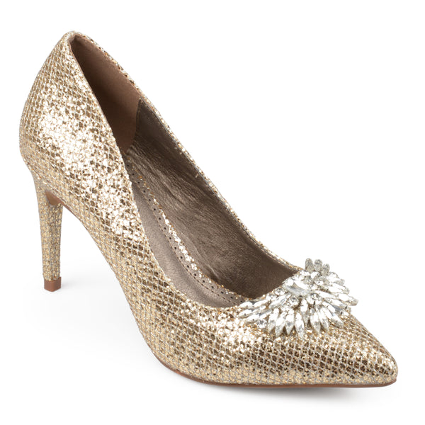 Pointed Toe Jewel Glitter Heels