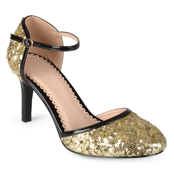 Faux Leather Piping Sequin Mary Janes
