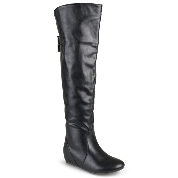 Wide Calf Knee-High Buckle Detail Boots