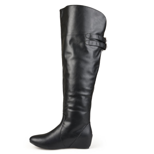 Knee-High Buckle Detail Wide Calf Boot