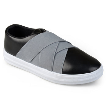 Contrast Elastic Faux Leather Slip-on Shoes