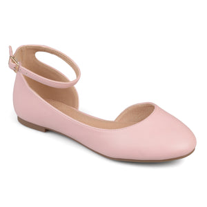 Wide Width D'orsay Ankle Strap Round Toe Flats