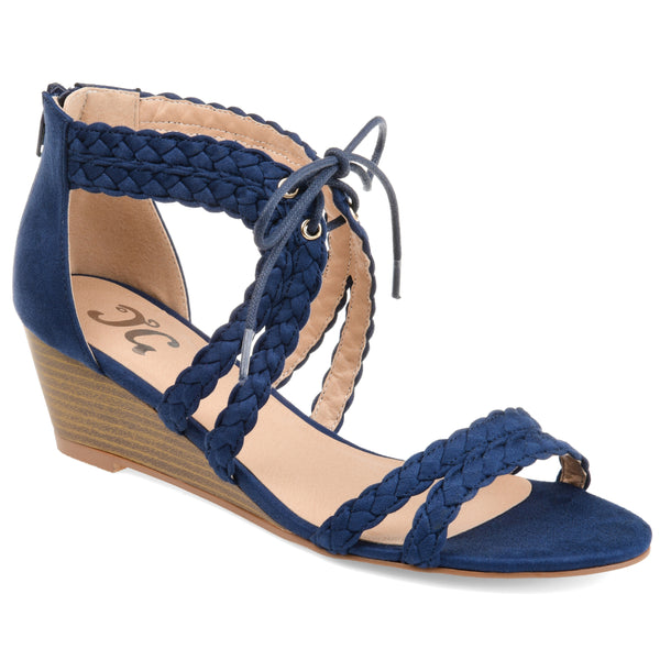 Braided Strap Lacep-Up Wedges