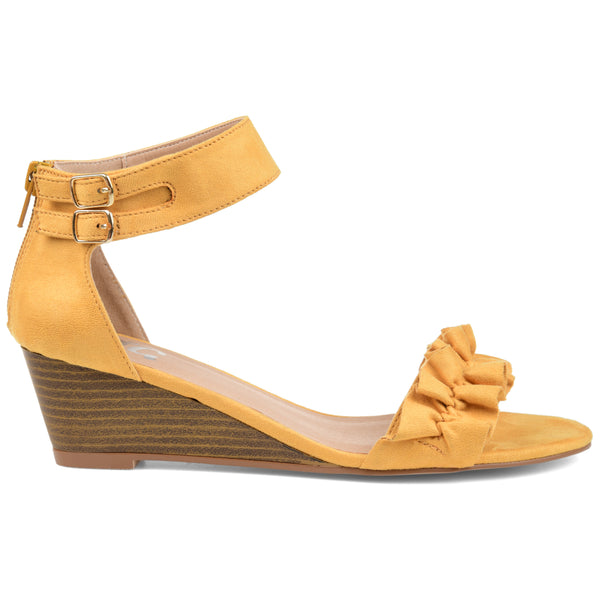 Ruffle Strap Stacked Wood Wedges