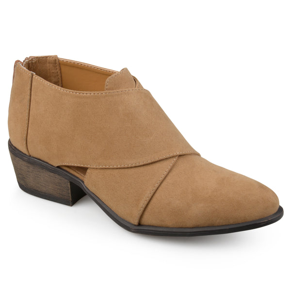Faux Suede Crossover Heeled Booties