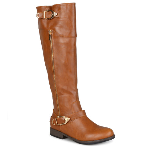 Wide Calf Side-Zipper Buckle Riding Boot