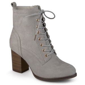 Stacked Heel Lace-up Booties