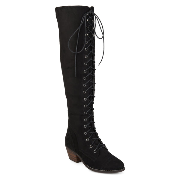 Wide Calf S Brogue Lace-Up Knee-High Boots