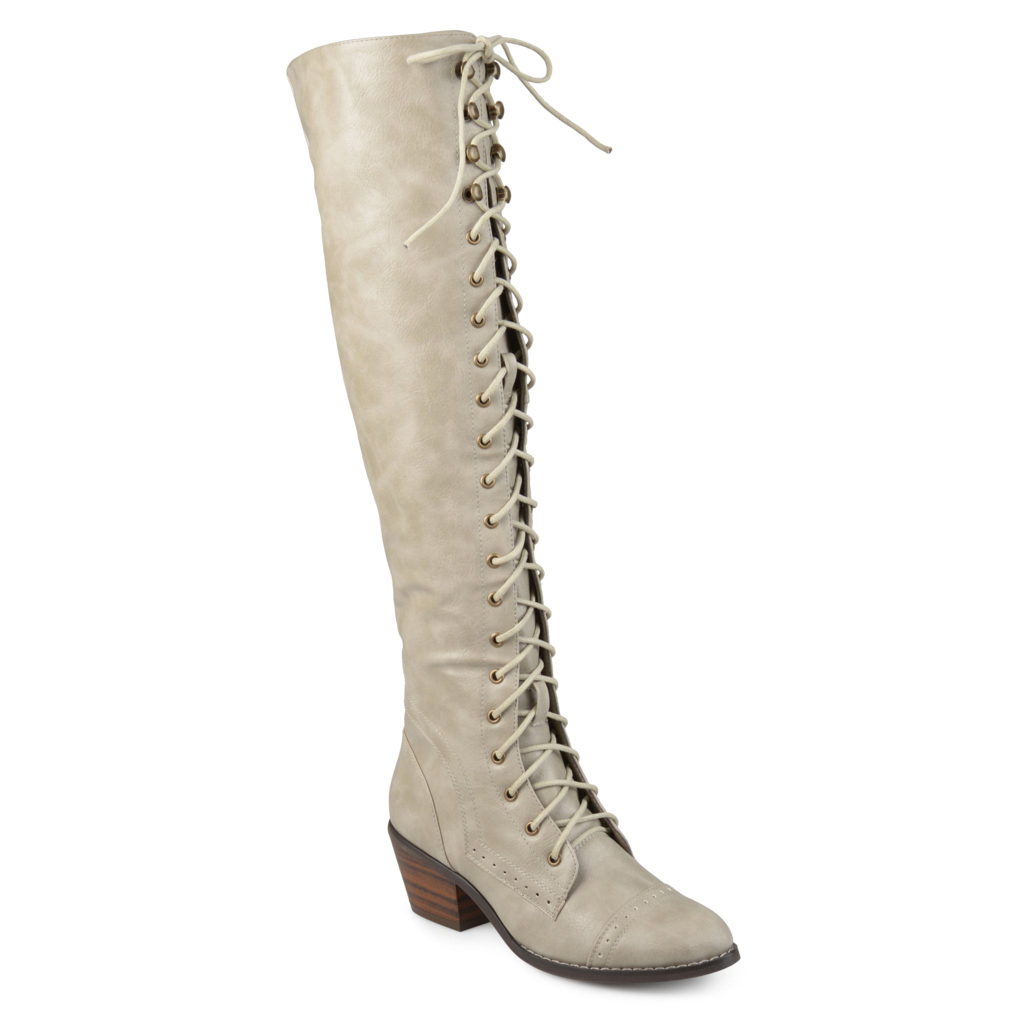 Wide Calf Brogue Lace-Up Knee-High Boots