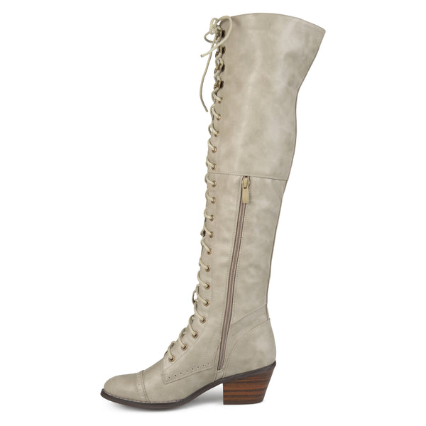 Lace-Up Knee-High Boots Wide Calf