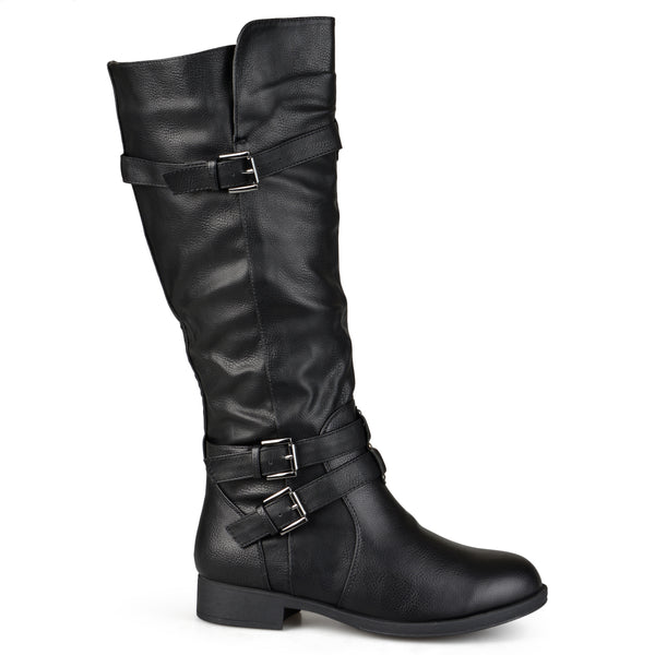 Wide Calf Buckle Knee-High Riding Boot