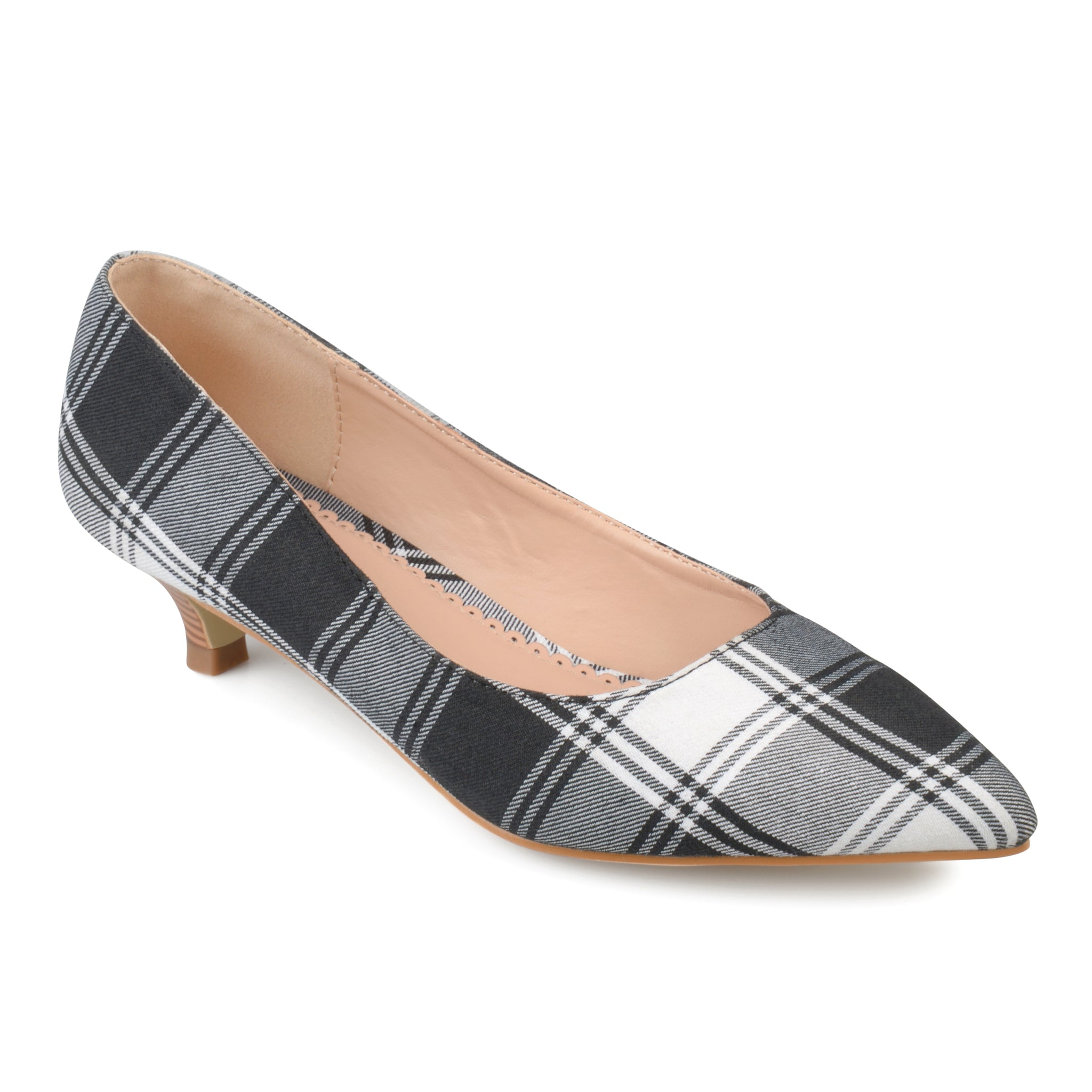 Pointed Toe Plaid Kitten Heel