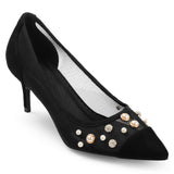 Sequin and Pearl Mesh Kitten Heel