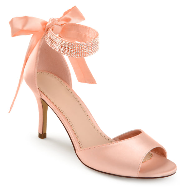 Open-toe Rhinestone Ankle Strap High Heels