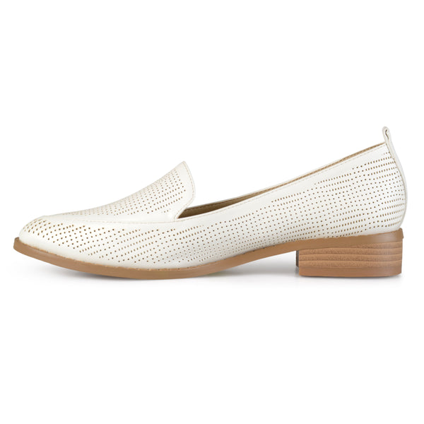 Laser Cut Stacked Heel Pointed Toe Loafers