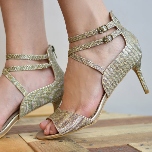 Strappy Open-toe Glitter Heels