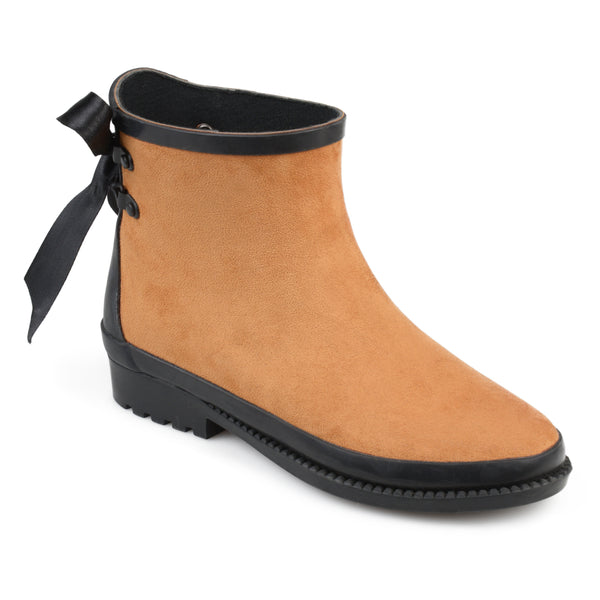 Bow Faux Suede Ankle Rainboots