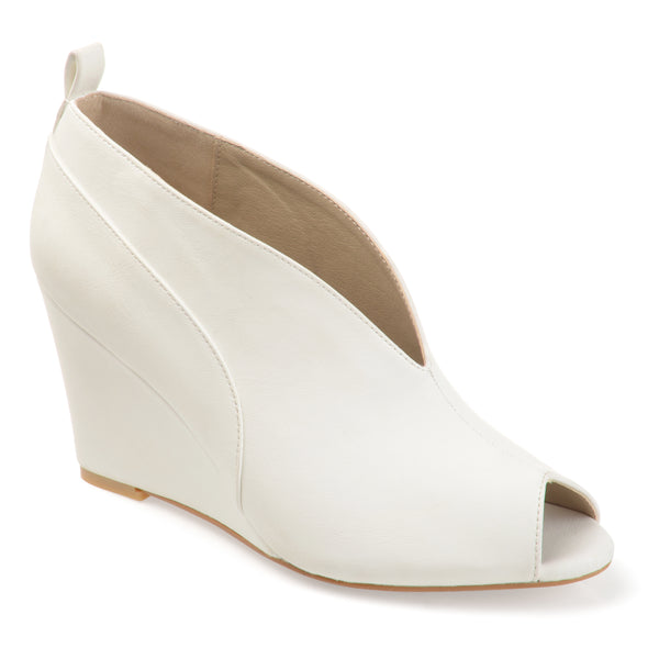 Deep V-cut Peep-toe Faux Leather Wedges