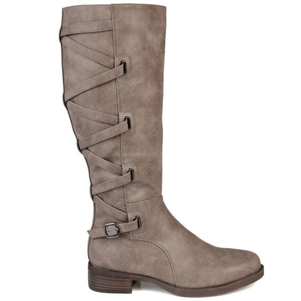 Lace-up Detail Riding Wide Calf Boot