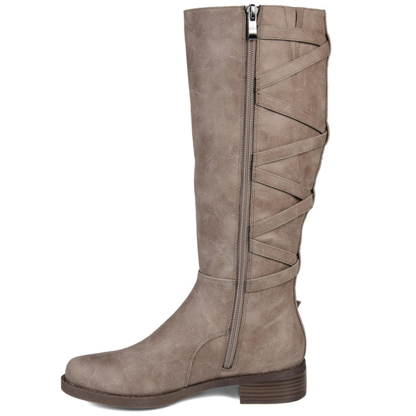 Extra Wide Calf Lace-up Detail Riding Boot