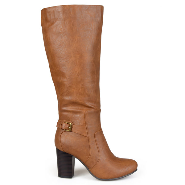 Wide Calf Buckle Detail High-Heeled Boot