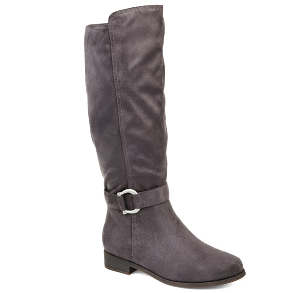 Micro-Suede Buckle Strap Boot Wide Calf