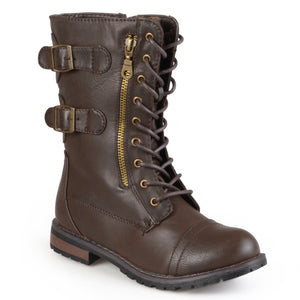 Lace-Up Buckle Mid-Calf Combat Boot