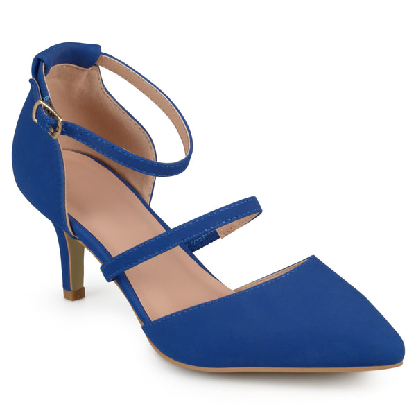 Matte Pointed-Toe Buckle Heel