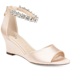 Jewel Ankle Strap Satin Wedges