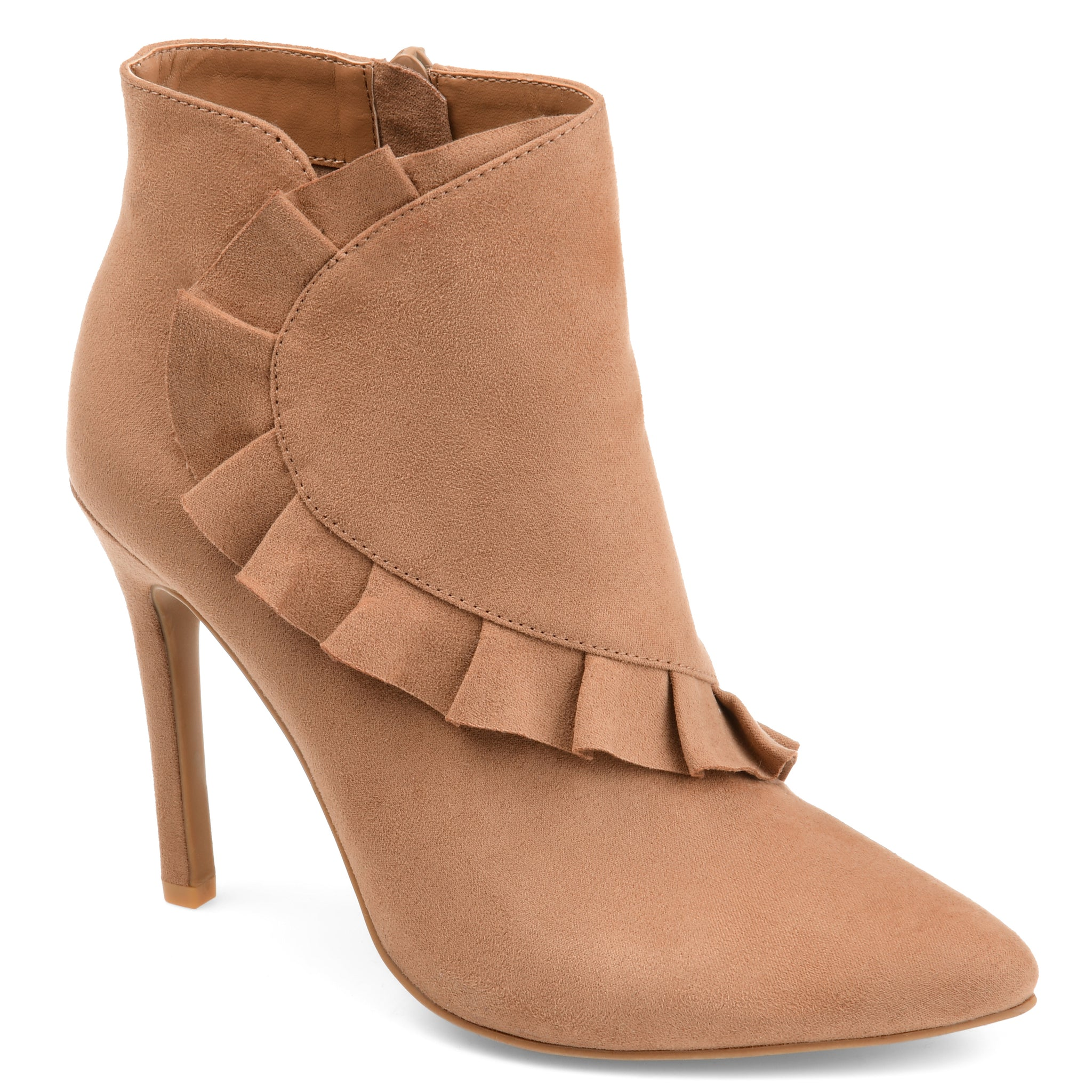 Pointed Toe Ruffle Bootie