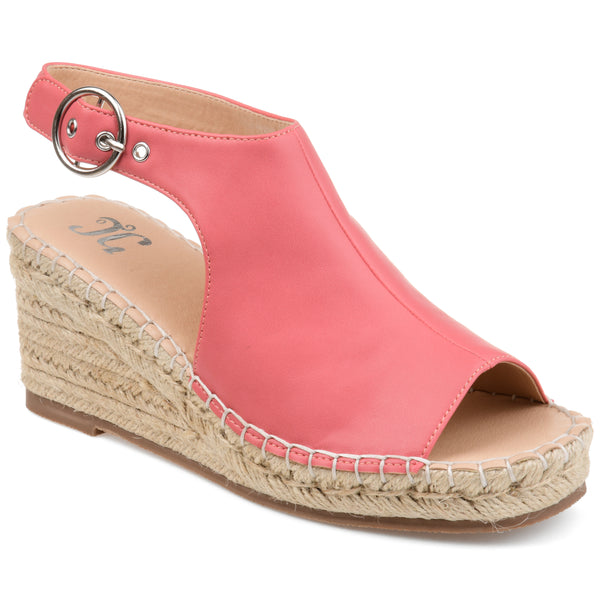 Open Toe Buckle Espadrille Wedge