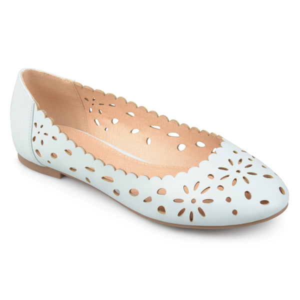 Wide Width Laser-cut Scalloped Round Toe Flats