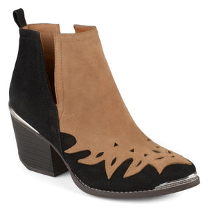 Stacked Wood Heel Western Two-tone Booties
