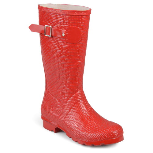 Textured Rubber Basketweave Mid-calf Rainboots