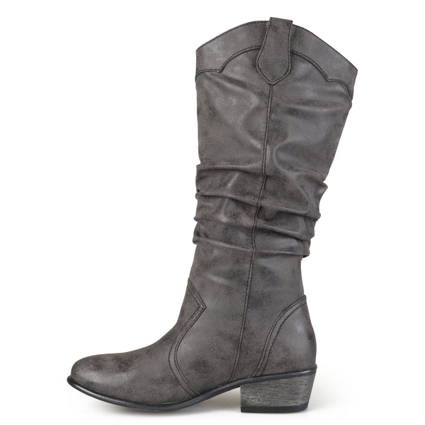 Slouch Faux Leather Riding Boots