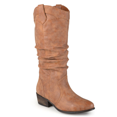 Wide Calf Slouch Faux Leather Riding Boots