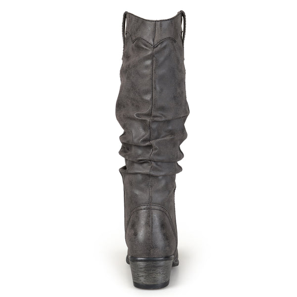 Slouch Faux Leather Riding Wide Calf Boot