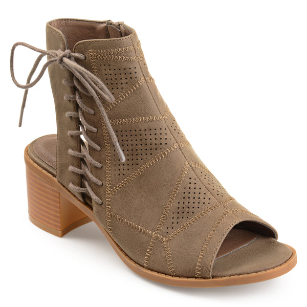 Lace-Up Open Toe Bootie
