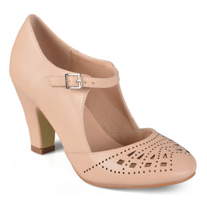 Round Toe Cutout Mary Jane Pumps