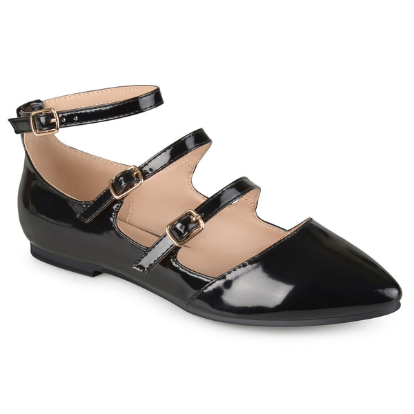 Faux Patent Strappy Buckle Flats