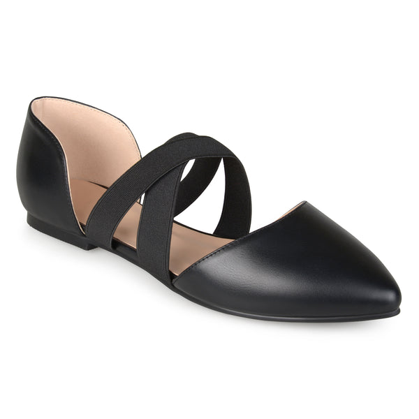Faux Leather Criss Cross Pointed Toe Flats