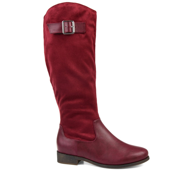 Two-Tone Bucke Strap Boot Wide Calf