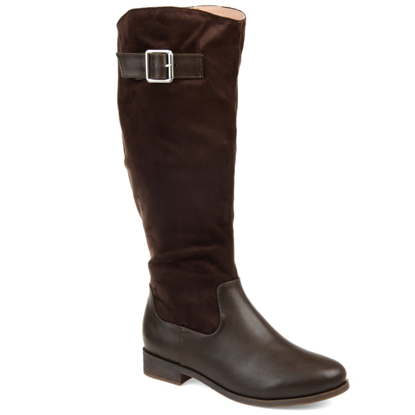 Two-Tone Bucke Strap Boot Extra Wide Calf