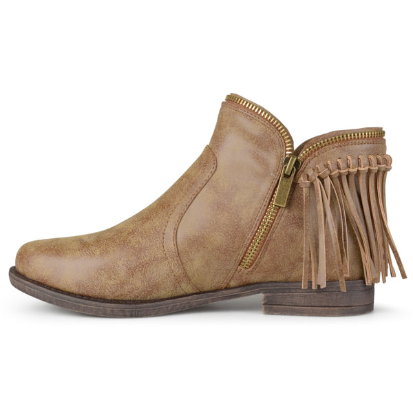 Almond Toe Fringed Riding Booties