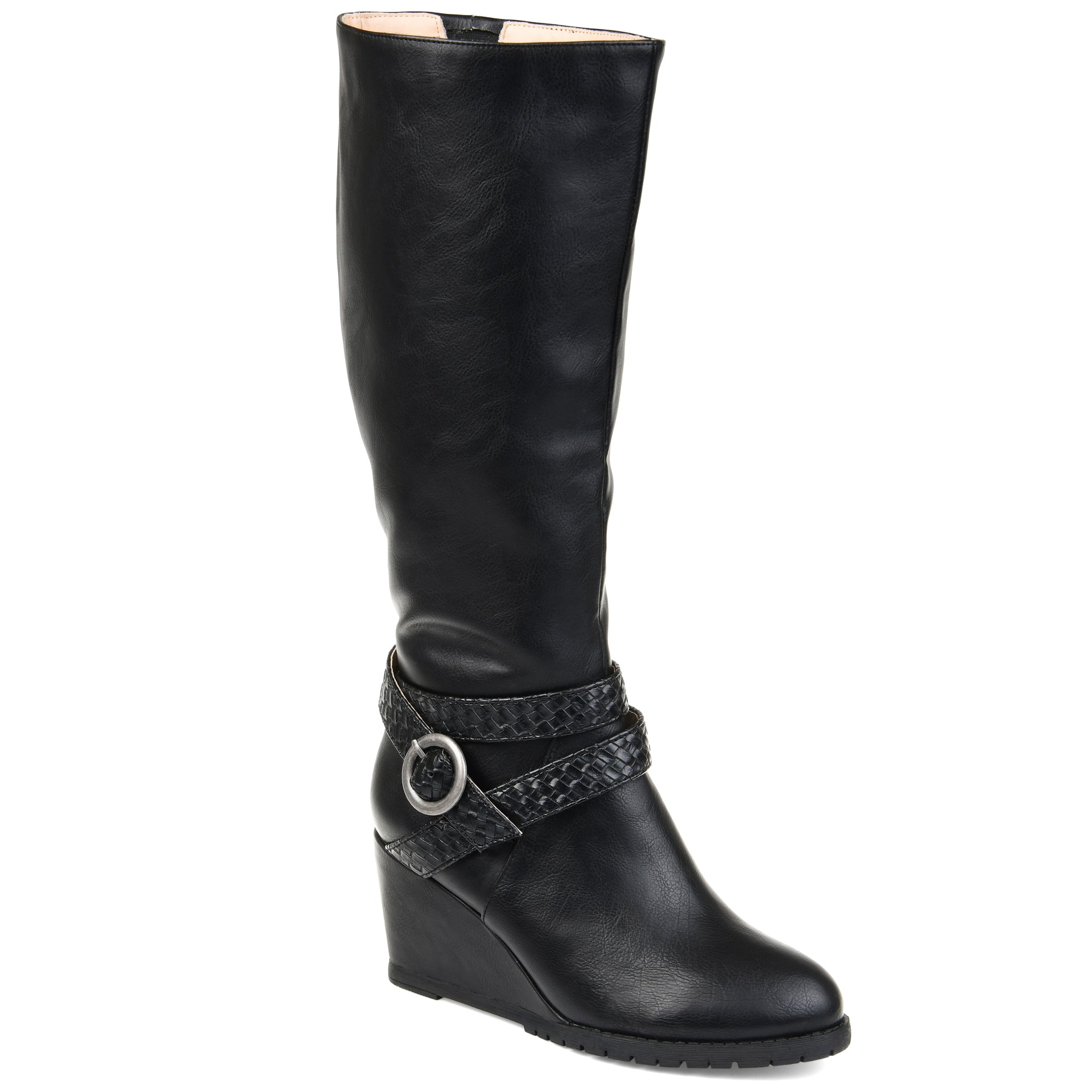 Braided Buckle Strap Wedge Boot Extra Wide Calf